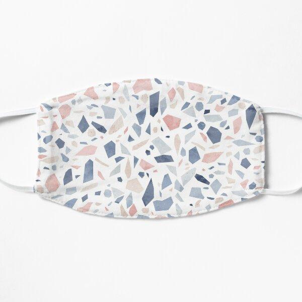 Vintage pastel blue pink beige geometric terrazzo pattern Flat Mask
