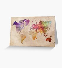 Map of the world art watercolor Greeting Card