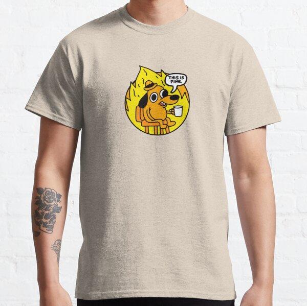 This is Fine Doggo | This is Fine Dog | This is Fine Meme - Blue Background Classic T-Shirt