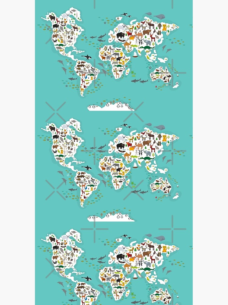 Cartoon animal world map for children and kids, Animals from all over the world, white continents and islands on blue background of ocean and sea. by EkaterinaP