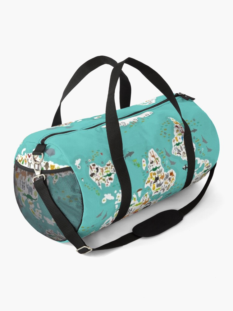Alternate view of Cartoon animal world map for children and kids, Animals from all over the world, white continents and islands on blue background of ocean and sea. Duffle Bag