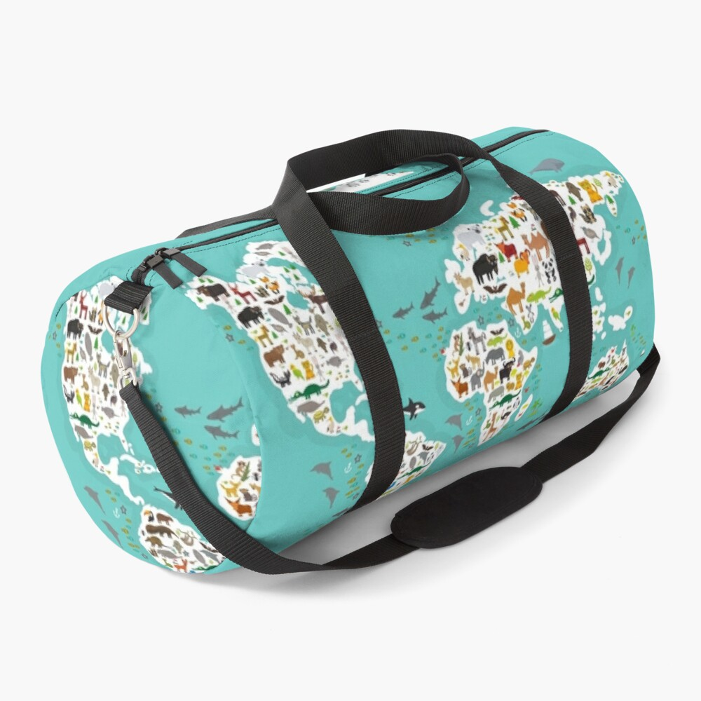 Cartoon animal world map for children and kids, Animals from all over the world, white continents and islands on blue background of ocean and sea. Duffle Bag