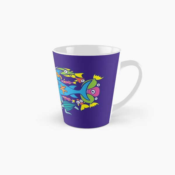 Surfer in trouble in a crowded sea in colorful doodle style Tall Mug