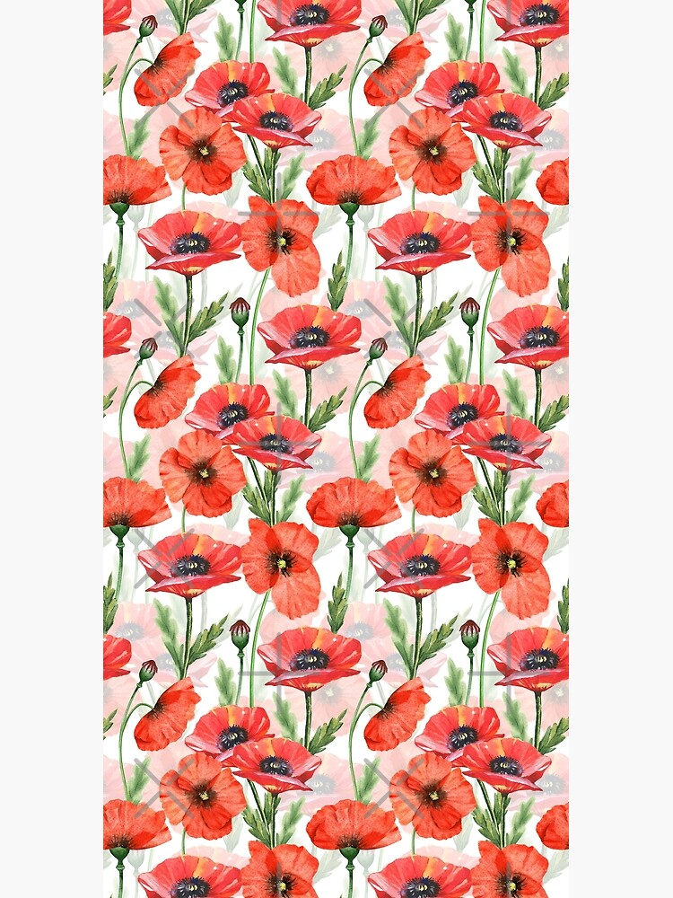 Hand drawn Watercolor Poppies Flower Pattern by UtArt