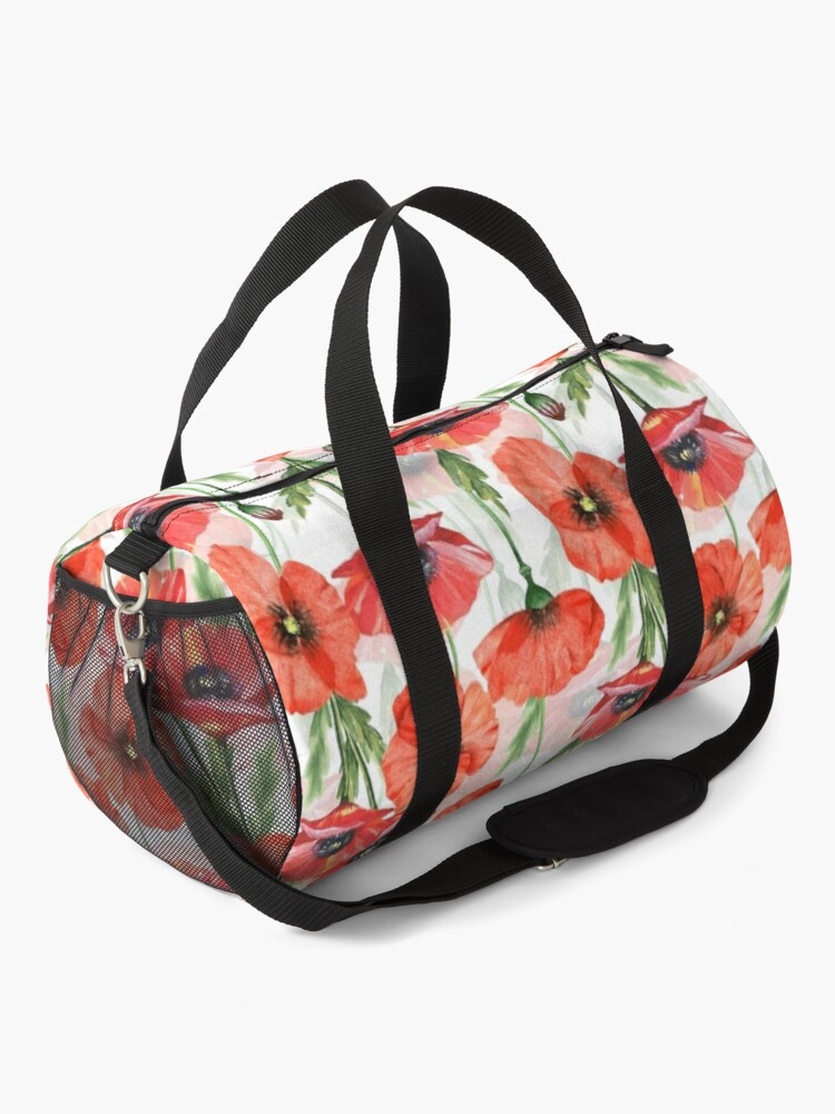 Alternate view of Hand drawn Watercolor Poppies Flower Pattern Duffle Bag