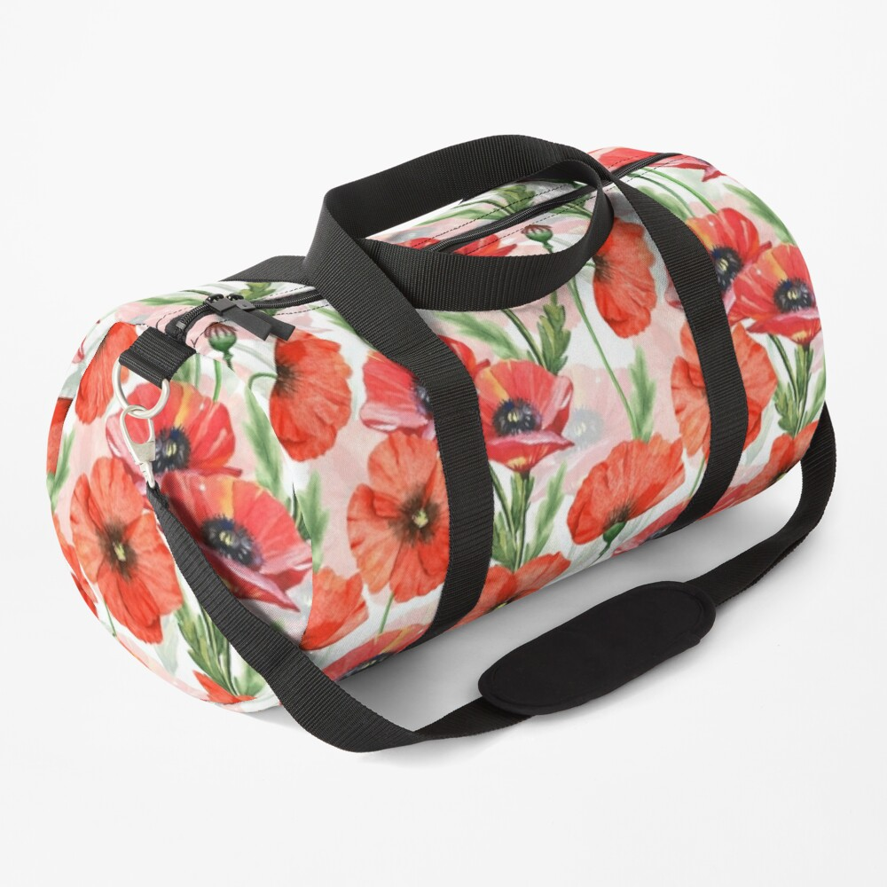 Hand drawn Watercolor Poppies Flower Pattern Duffle Bag