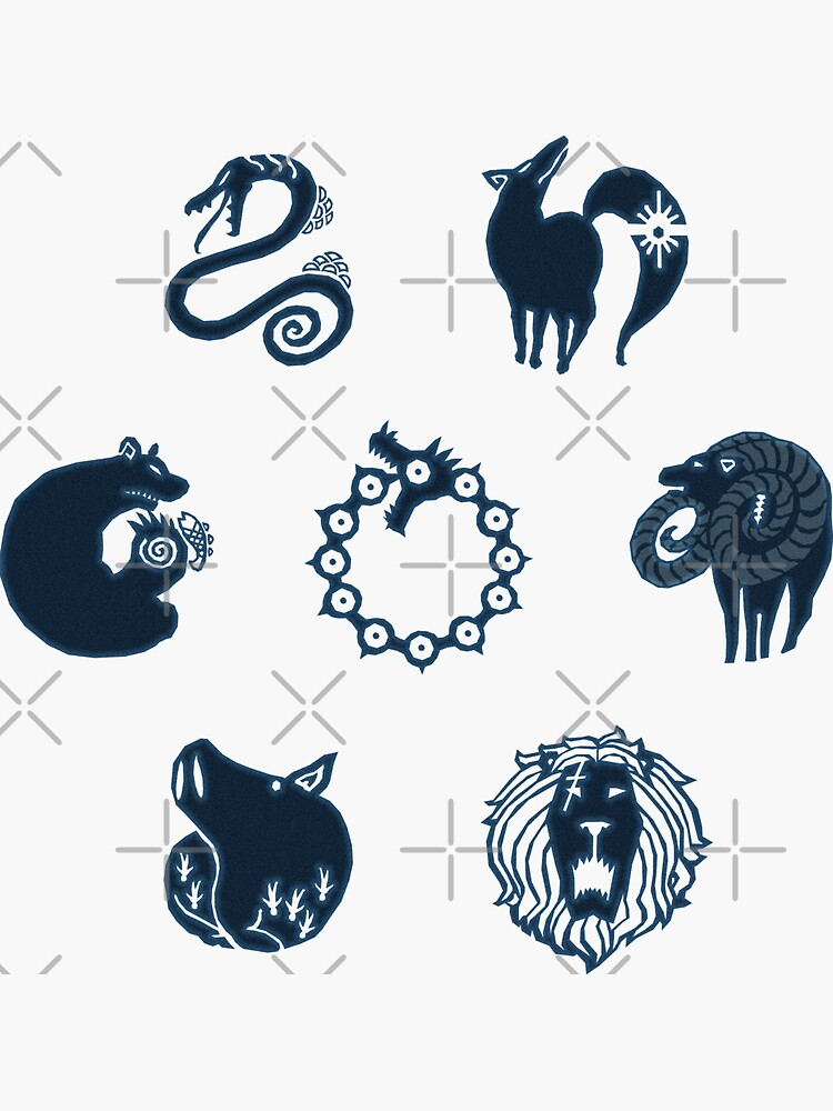 Seven Deadly Sins Logo Set Stickers (7 in 1) by Duyudon