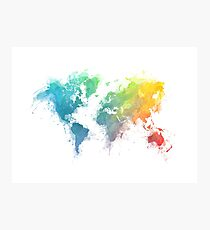 World Map splash 1 Photographic Print
