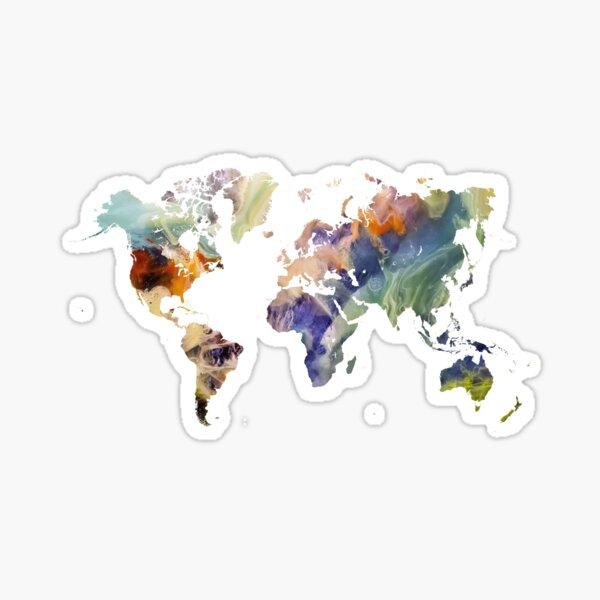 World Map watercolor painting #map #worldmap Sticker