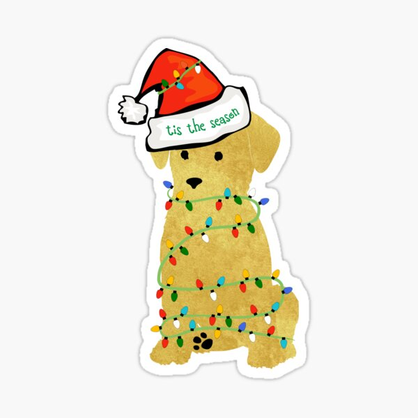 Cute Christmas Golden Retriever Puppy Sticker