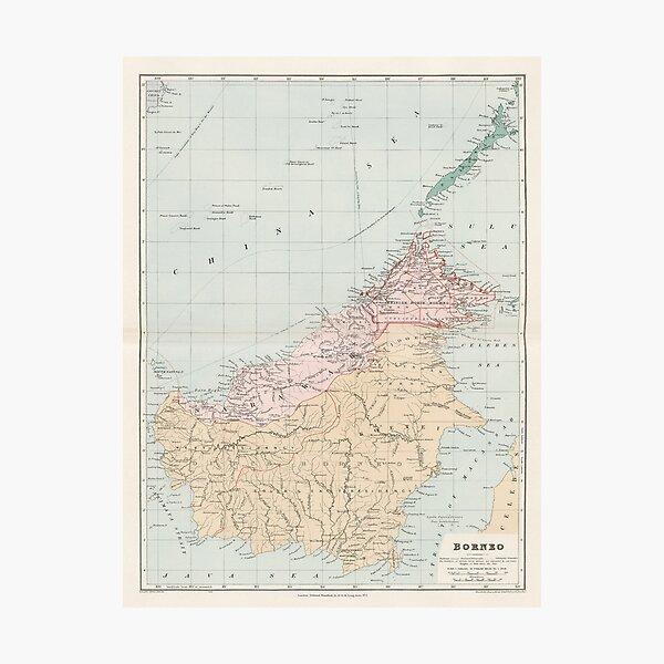 Vintage Map of Borneo Island (1904) Photographic Print
