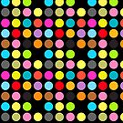 Colorful Polka Dots on Black by pjwuebker