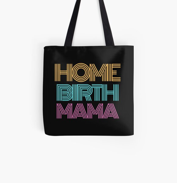 Home Birth Mama Adult - Home Birth Retro All Over Print Tote Bag