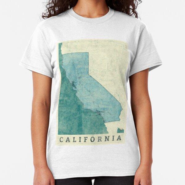 California Map Blue Vintage Classic T-Shirt