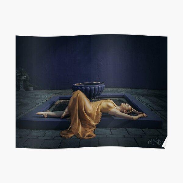 Golden Maiden in Blue Poster