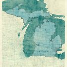 Michigan Map Blue Vintage by HubertRoguski