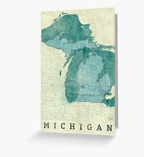 Michigan Map Blue Vintage Greeting Card