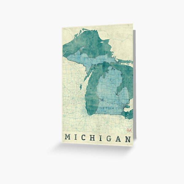 Michigan Map Blue Vintage Greeting Card