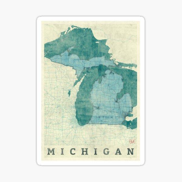 Michigan Map Blue Vintage Sticker