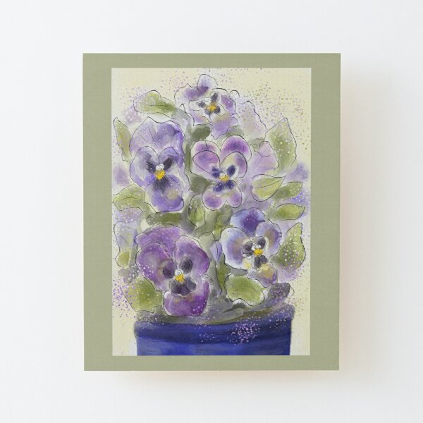 Whimsical Watercolour Pansies Wood Mounted Print