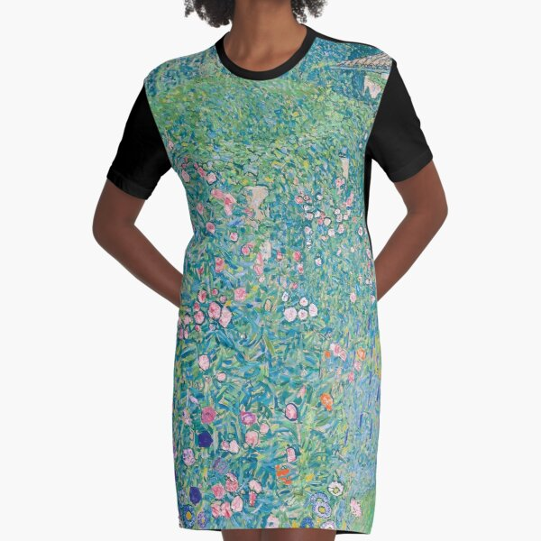 Gustav Klimt - Italian Garden Landscape Graphic T-Shirt Dress