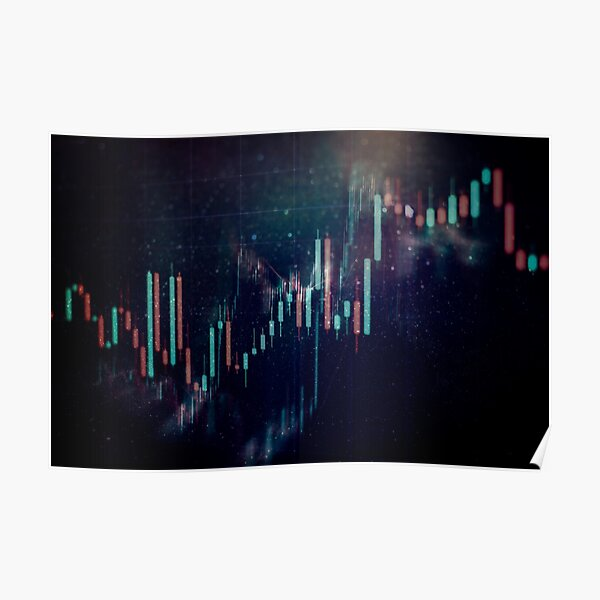 represents what supply and demand would look like on a background that looks like space Poster