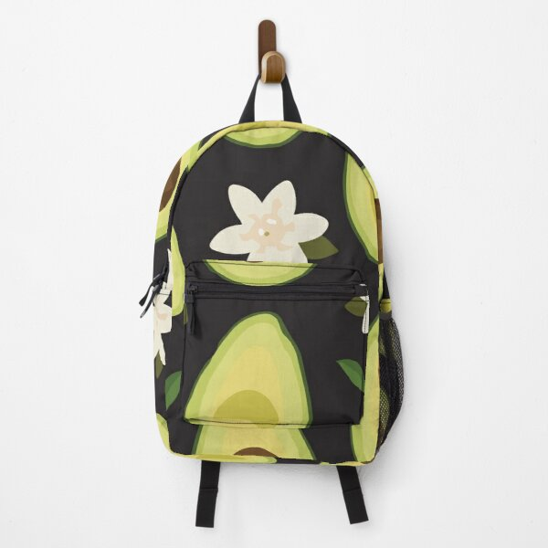 Seamless sliced avocado pattern with flower Backpack