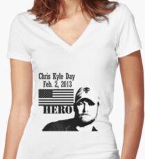 Chris Kyle RIP v2 Women's Fitted V-Neck T-Shirt