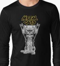 Camiseta de manga larga gatos de metal