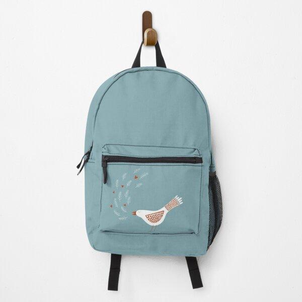 Scandinavian Bird with Hearts Backpack
