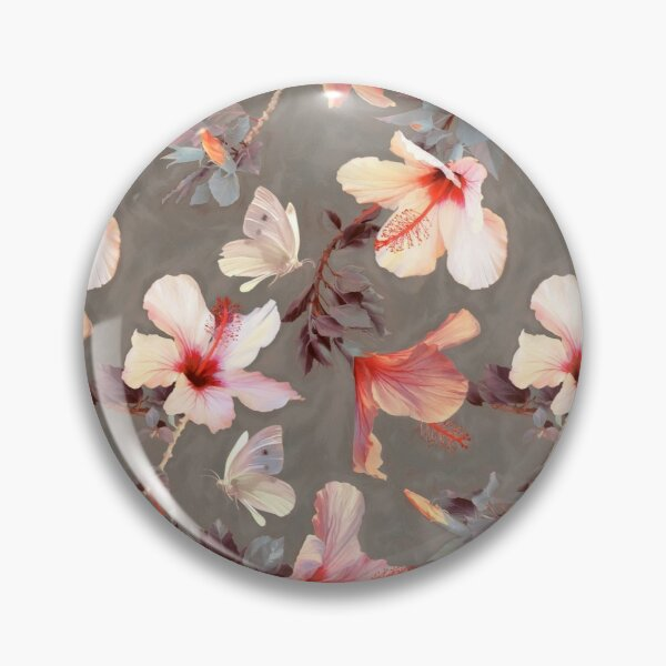 Coral Hibiscus Pin