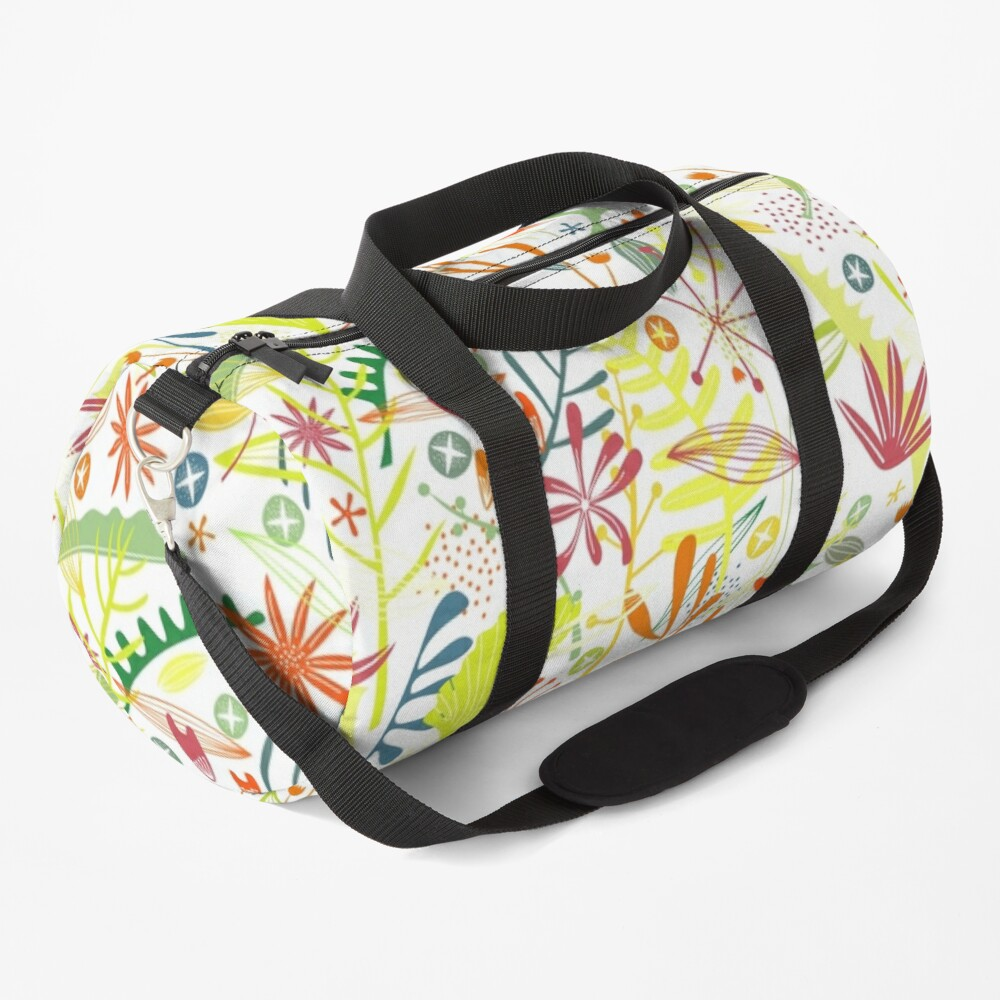 Tropical Leaves and Flowers Duffle Bag