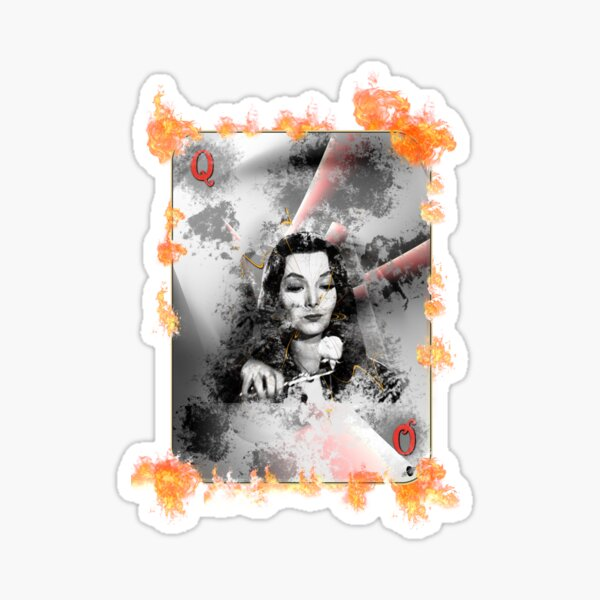 Morticia and her roseate queen card in flames Sticker