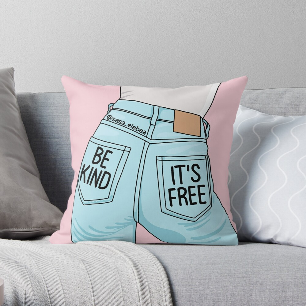 Be kind by Sasa Elebea Throw Pillow