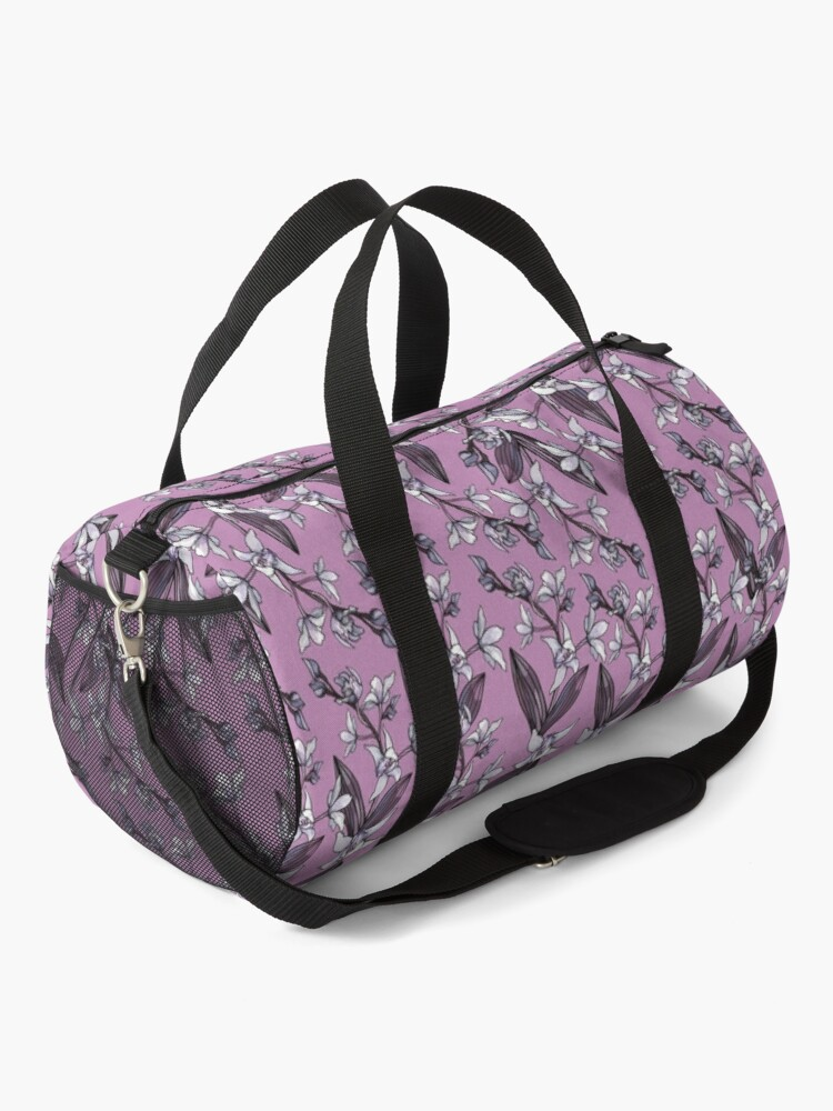 Alternate view of Orchid Flower - Purple and Pink color palette Duffle Bag