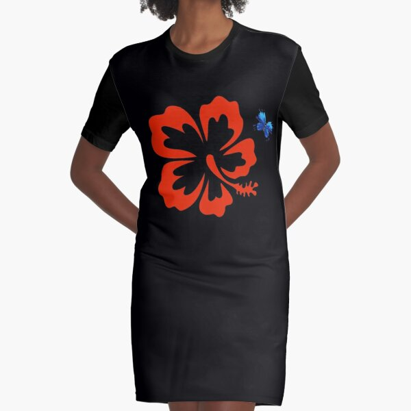 Flower and Butterfly Graphic T-Shirt Dress