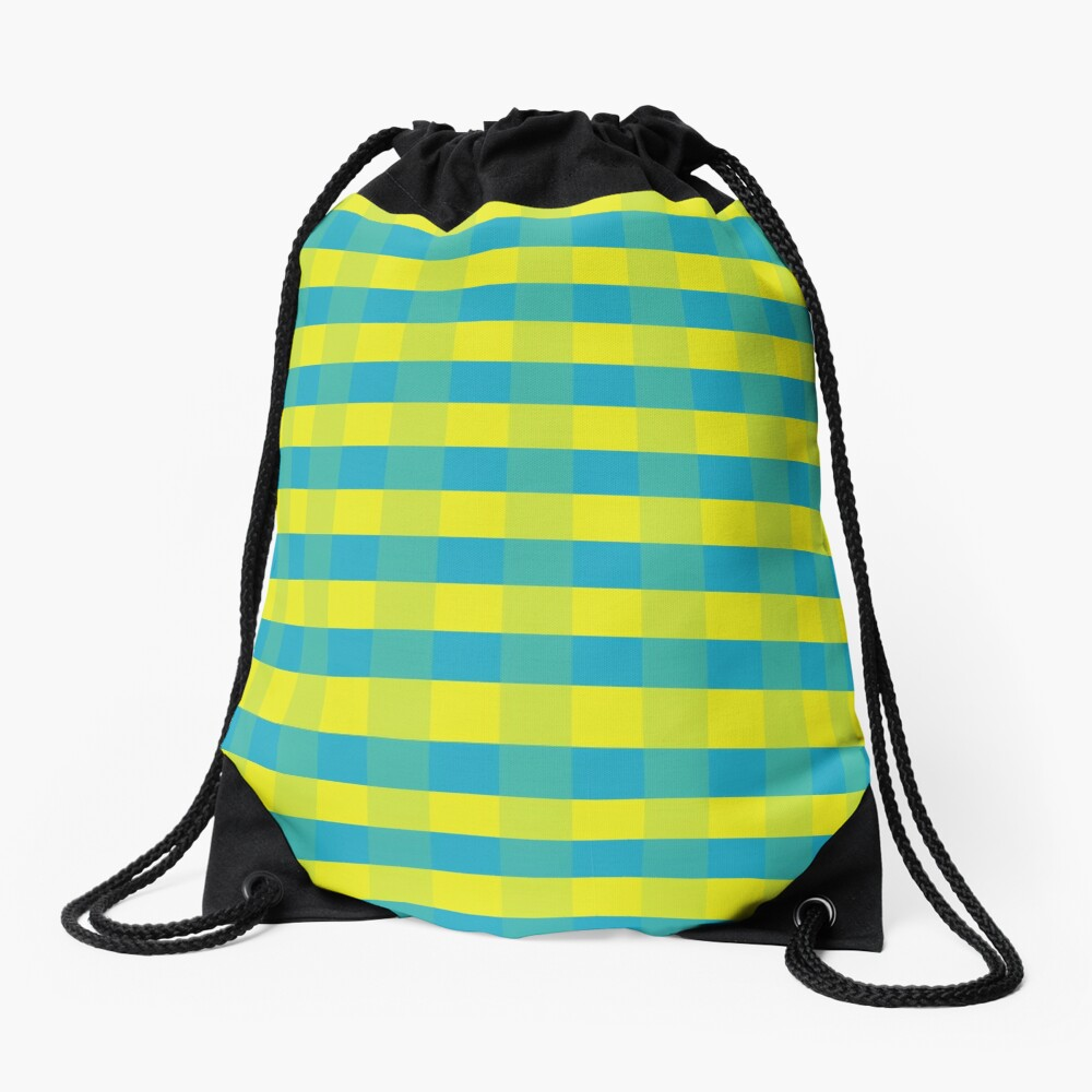 Yellow-blue squares Drawstring Bag