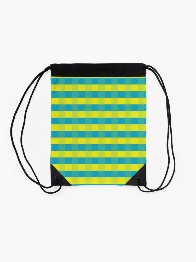 Alternate view of Yellow-blue squares Drawstring Bag