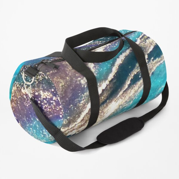 Liquid art abstract gold and blue Duffle Bag