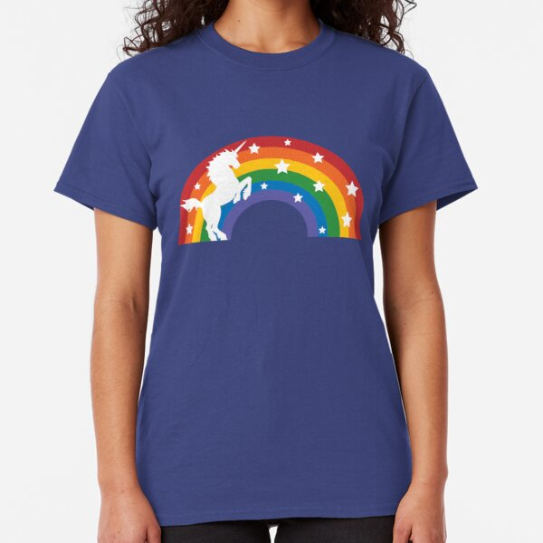Retro Unicorn and Rainbow Classic T-Shirt