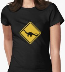 Beware of Apatosaurus Road Sign Womens Fitted T-Shirt
