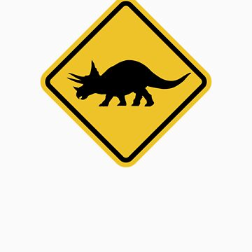 Beware of Triceratops Road Sign by eZonkey