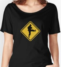 Beware of Ryu Hurricane Kick Road Sign - 8 bit Retro Style Women's Relaxed Fit T-Shirt