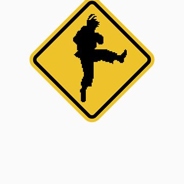 Beware of Ryu Hurricane Kick Road Sign - 8 bit Retro Style by eZonkey