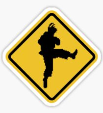 Beware of Ryu Hurricane Kick Road Sign - 8 bit Retro Style Sticker