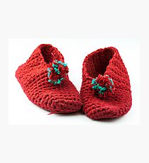 Red knitted slippers Photographic Print