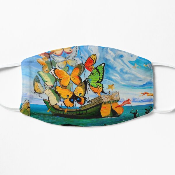 BUTTERFLY SHIP : Vintage Dali Abstract Painting Print Mask