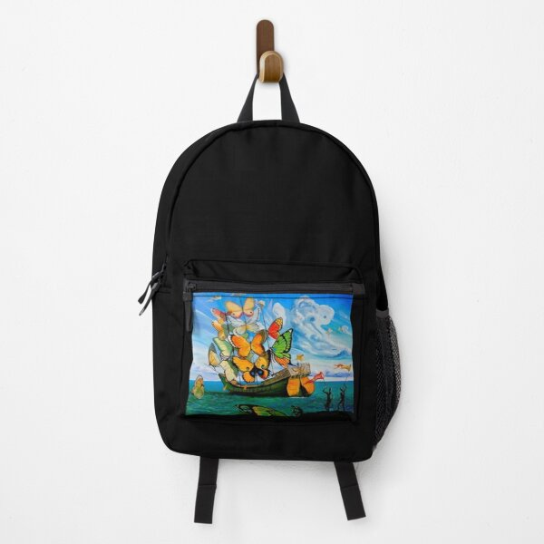 BUTTERFLY SHIP : Vintage Dali Abstract Painting Print Backpack