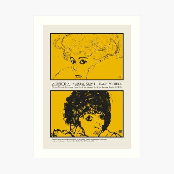 Gustav Klimt & Egon Schiele - Exhibition poster for the Albertina in Vienna, Austria in 1968 Art Print