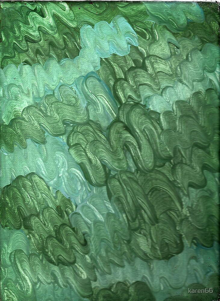 BLUE AND GREEN SQUIGGLES ON CANVAS by karen66
